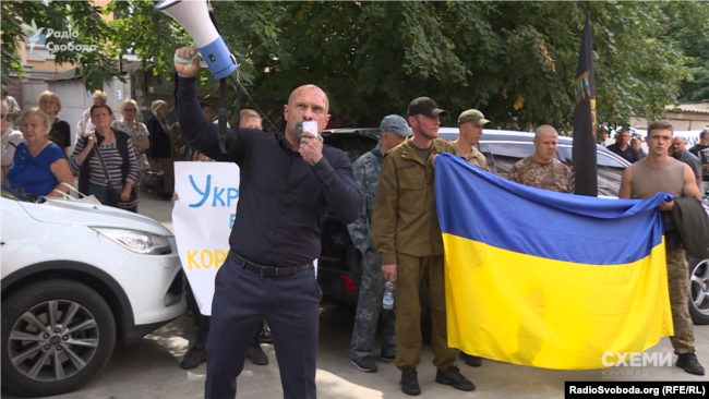 Ілля Кива на мітингу під САП