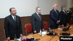 Armenia -- Alexander Arzumanian (L) and other leaders open a ongress of the Armenian Pan-National Movement party, Yerevan, 26Oct2013