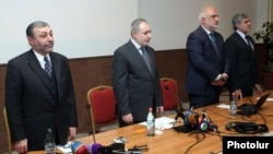 Armenia -- Karapet Rubinian (second from right) and Alexander Arzumanian (left) at a congress of the Armenian Pan-National Movement , Yerevan, 26Oct2013