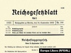 """Один из так называемых """"расовых законов"""", принятых Рейхстагом в 1935 году"""