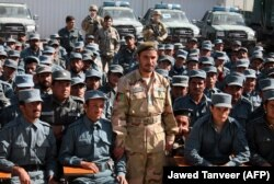 Afghan General Abdul Raziq at a graduation ceremony at a police training center in Kandahar Province on February 19, 2017.