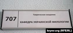 Табличка на дверях кафедри української філології Таврійської Академії КФУ