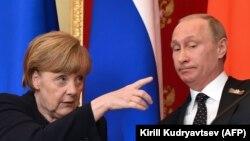 Angela Merkel și Vladimir Putin, Moscova, 10 mai 2015.