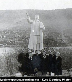 "The Stalin monument -- made of ""quite good Soviet"" concrete -- was erected in Kusa's city park."