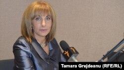 Dafina Gercheva în studioul Europei Libere la Chișinău