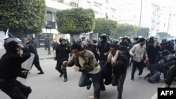 Police used violence to disperse an earlier demonstration in Tunis on January 18.