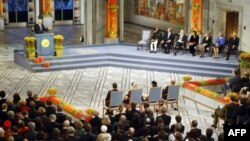 Nga ceremonia e ndarjes së çmimit Nobel për Paqe