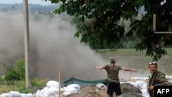 Блокпост сепаратистов в Славянске