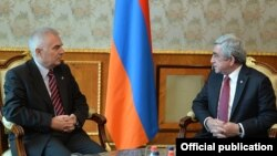 Armenia - President Serzh Sarkisian meets with Piotr Switalski, head of the EU Delegation in Armenia, Yerevan, 13Jan2016.