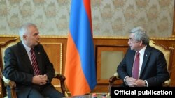 Armenia - President Serzh Sarkisian meets with Piotr Switalski, head of the EU Delegation in Armenia, Yerevan, 13Jan2016.