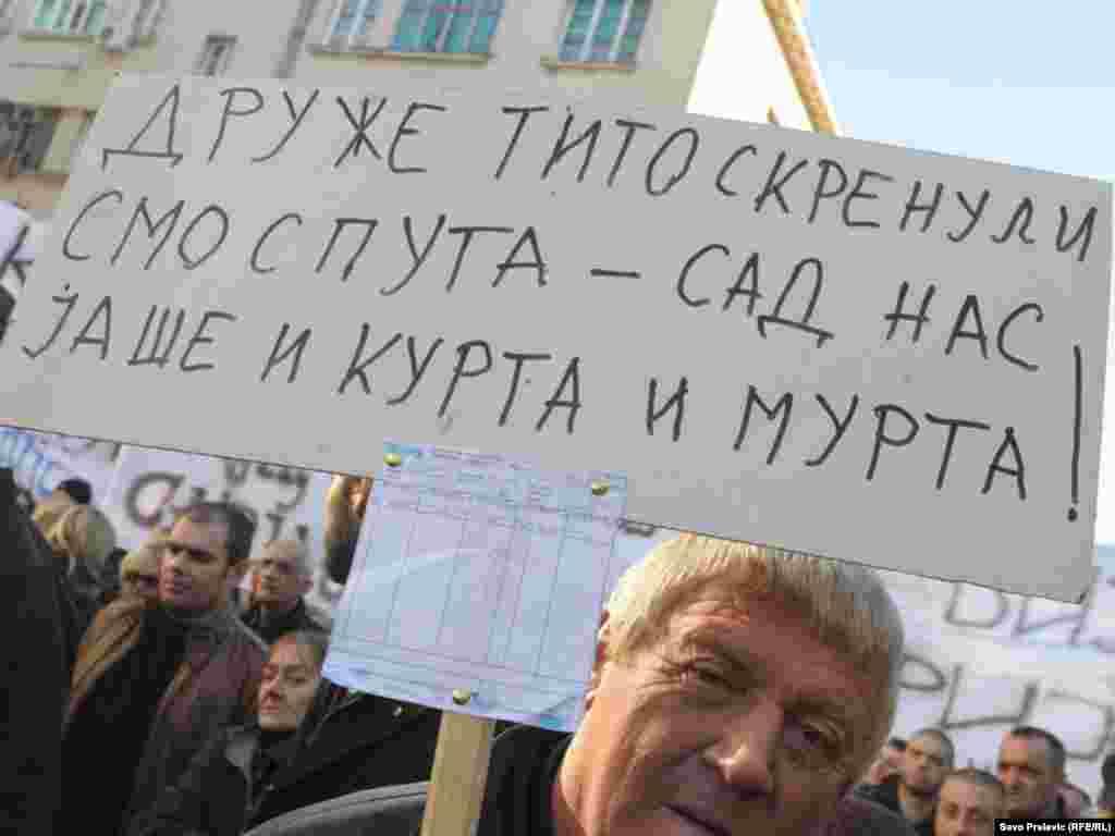 U Podgorici je nekoliko hiljada ljudi 21. januara 2012. protestovalo ispred zgrade crnogorske Vlade, zbog teškog socijalno-ekonomskog stanja u Crnoj Gori. Protest je organizovala Unija slobodnih sindikata, uz podršku Mreže za afirmaciju nevl