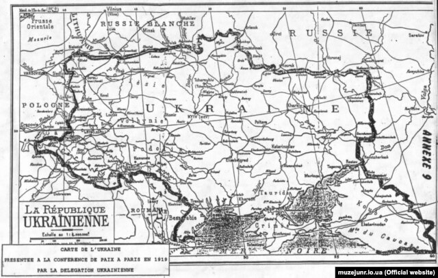 Карта Украины, которой пользовались на Парижской мирной конференции