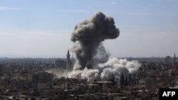 از حملات پیشین هوایی به حومه شهر دمشق
