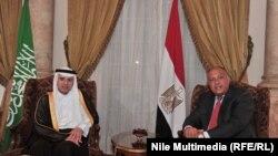 وزيرا الخارجية السعودي عادل الجبير والمصري سامح شكري في القاهرة