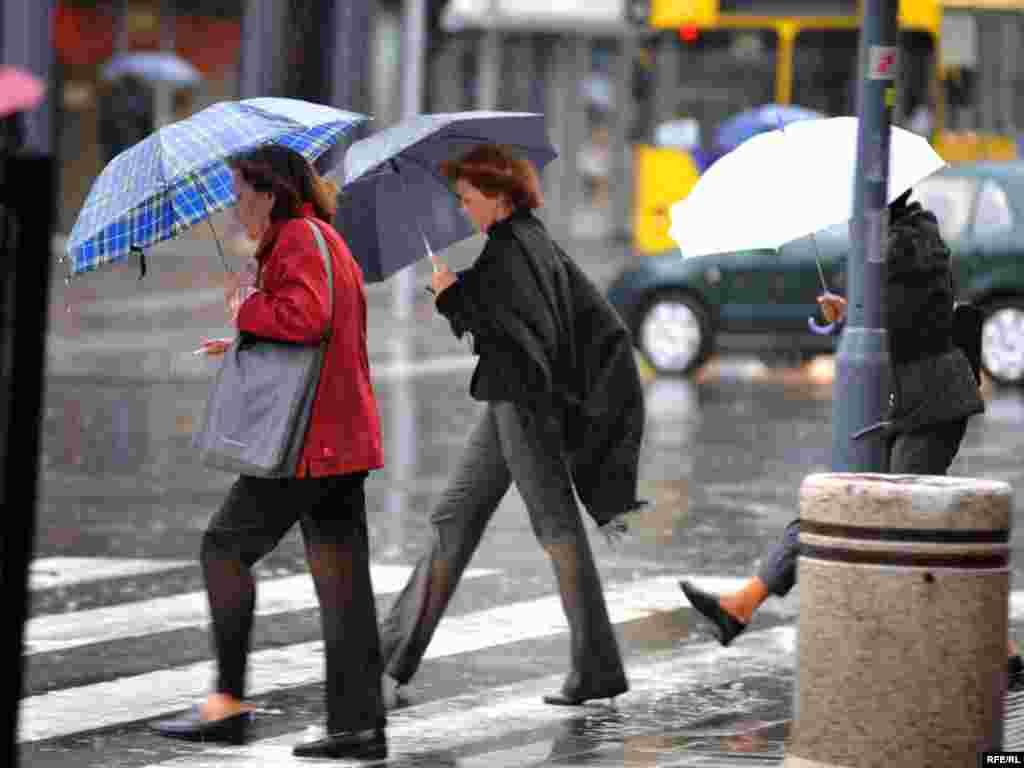 Грозовой дождь (дождь с грозой) или дождь с градом.