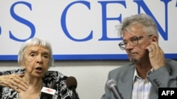 Activists Lyudmila Alekseyeva (left) and Eduard Limonov at a press conference in Moscow in August