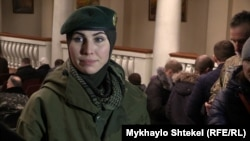 Ukraine -- Aminа Okuyeva wife battalion commander, International peacekeeping battalion press officer named Johar Dudayev