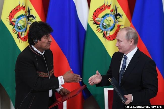Эво Моралес в гостях у Владимира Путина в Кремле. 11 июля 2019 года