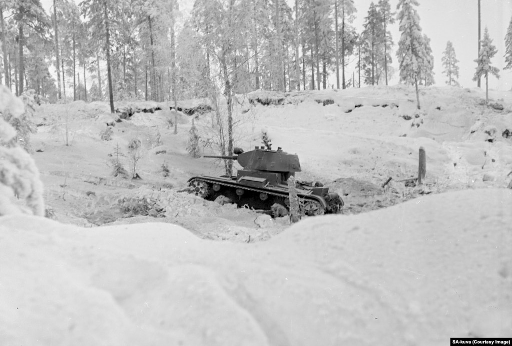 A Red Army tank rolls in Finland. The underequipped Finns initially struggled to counter the Soviets' armored columns.