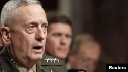 General James Mattis testifies before the Senate Armed Services Committee in Washington, D.C., on July 27.