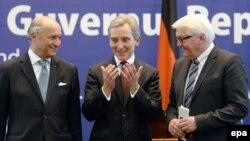 Premierul Iurie Leancă, cu șefii diplomațiilor germană și franceză, Frank-Walter Steinmeier și Laurent Fabius în aprilie trecut la Chișinău