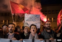 Macedonian nationalists protest against a political agreement that would ensure wider use of the Albanian language in the ethnically divided state, in Skopje in February 2017.