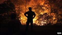 Një banor qëndron afër zjarrit në një fshat të Çaçakut