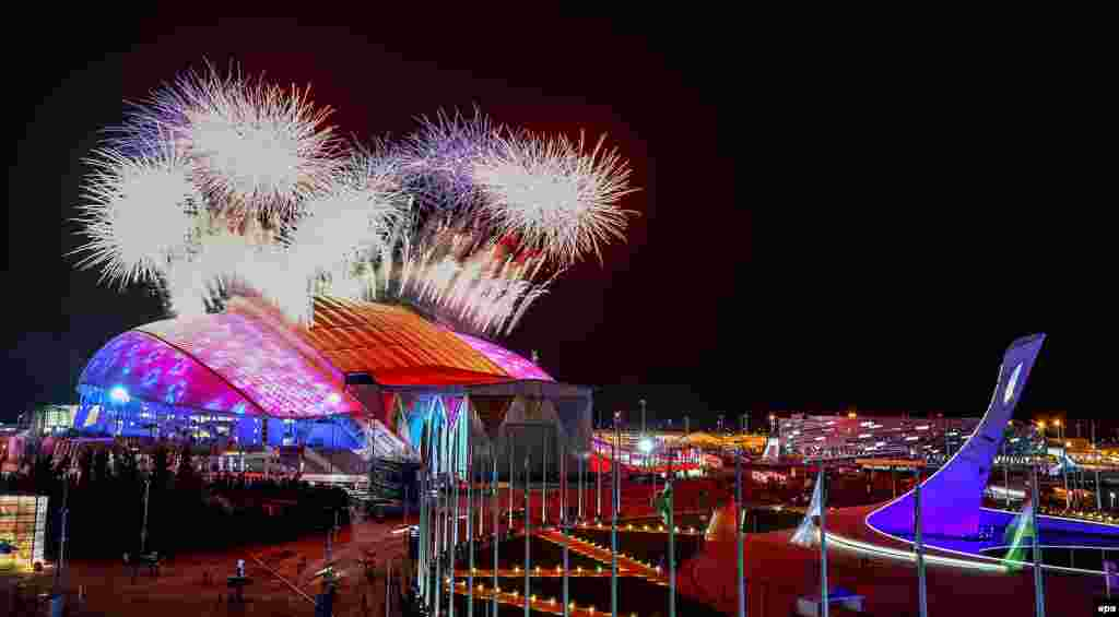 Fireworks go off over the Fisht Olympic Stadium at the start of the opening ceremony for the Sochi Winter Olympics.