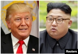 Дональд Трамп менен Ким Чен Ын.