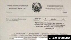 Uzbekistan -- Decree Signed by Vice-Premier Rustam Azimov on November 6, 2013