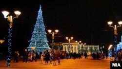 Скопје украсено за Нова година.