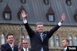 Выступление Петра Порошенко в Оттаве перед зданием парламента. 18 сентября