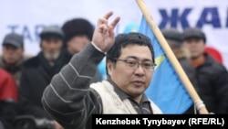 Оппозиционер Ермек Нарымбаев на одной из акций протеста. Алматы, 30 января 2010 года.