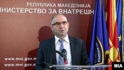 Митко Чавков на прес - конференција додека беше министер за внатрешни работи.