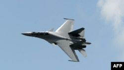 A Sukhoi SU-30 fighter jet