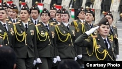 Tajikistan,Dushanbe city, a tajik millitary women participated at 20th Anniversaty of Tajik national Army,23February2013
