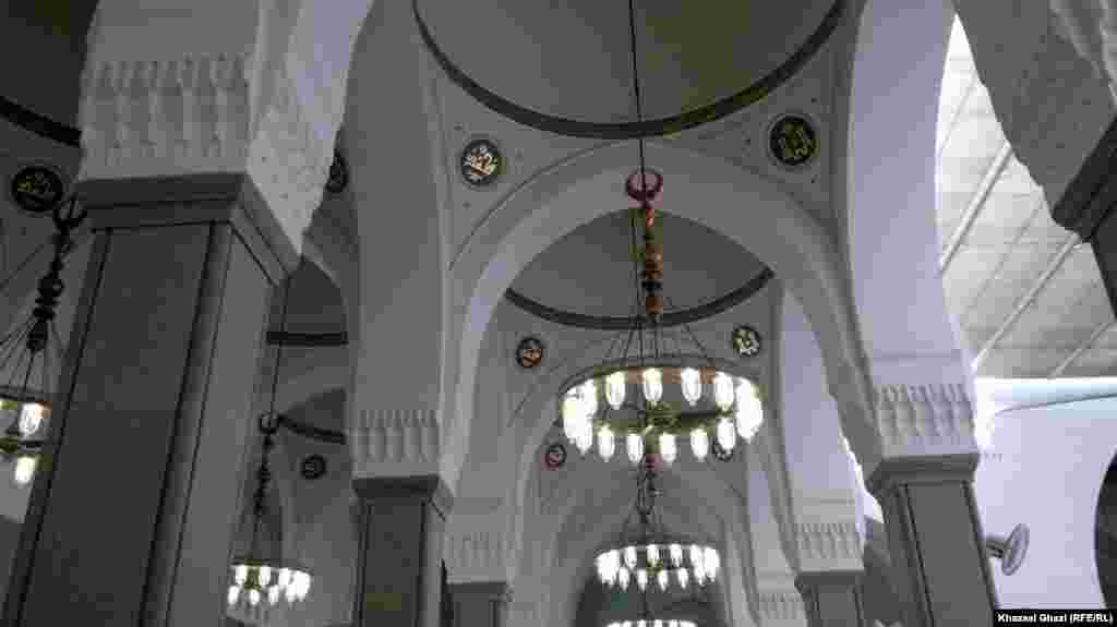 The interior of the Mosque of Two Qiblas in Medina City