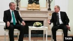 Президент Турции Реджеп Эрдоган (слева) и президент России Владимир Путин. Москва, 23 сентября 2015 года.