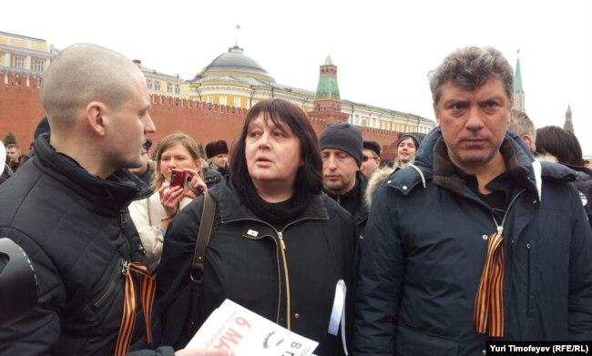 Udaltsov (left) and Boris Nemtsov in Red Square in April 2012