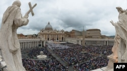 The crowd gathered on St. Peter's Square in the Vatican for the dual canonization ceremony on April 27.