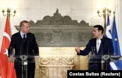 Во время совместной пресс-конференции Эрдогана и Ципраса в Афинах