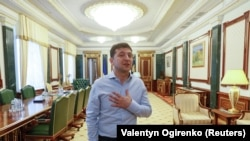 Zelenskiy in his office at the Presidential Administration building in Kyiv on June 19.