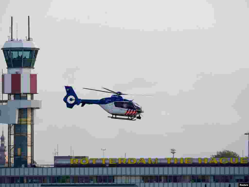 One of two helicopters believed to be carrying Mladic departs from Rotterdam airport in The Netherlands to deliver him to The Hague and the International Criminal Tribunal for the former Yugoslavia, an institution which has sought him for nearly 16 years on genocide and other alleged atrocities charges. REUTERS photo by Robin van Lonkhuijsen