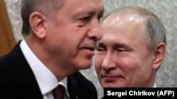 Президенты Турции и России Реджеп Эрдоган и Владимир Путин на встрече в Сочи, 14 февраля 2019 года