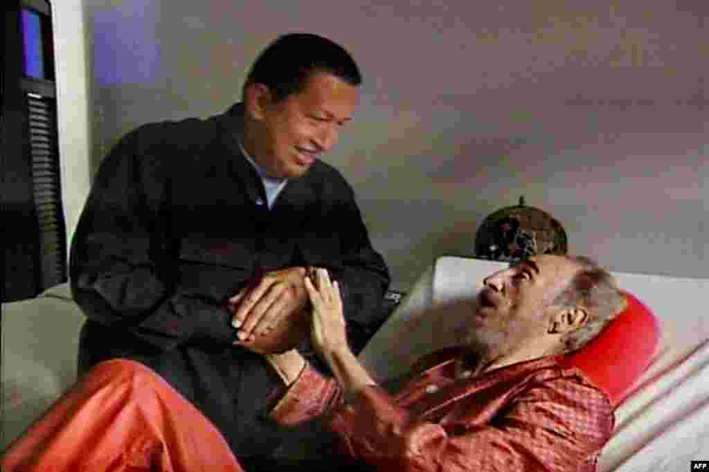Venezuelan President Hugo Chavez pays a visit to an ailing Castro in Havana in September 2006. Despite his failing health, the Cuban leader outlived Chavez, who died of complications from cancer in 2013.
