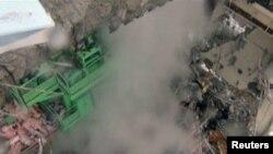 آثار التدمير على المفاعل رقم 4 في محطة فوكوشيما النووية اليابانية