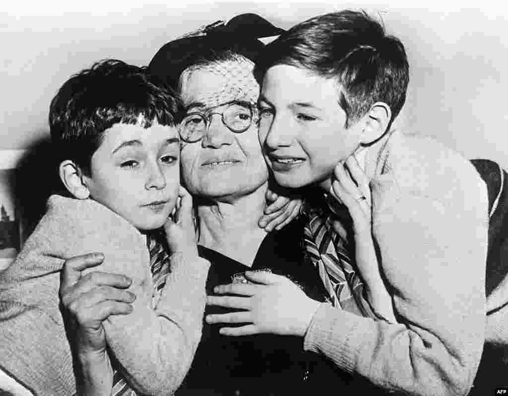 Sophie Rosenberg, mother of Julius Rosenberg, with the couple's sons Michael and Robert, in 1954, eight months after their parents' deaths.