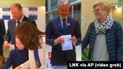 Комбінований відеокадр: голосують Саулюс Скверняліс із родиною, Ґітанас Науседа, Інґріда Шимоніте (зліва направо)