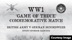Афиша матча в память о перемирии декабря 1914 года