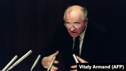Soviet President Mikhail Gorbachev addresses the Supreme Soviet on August 27, 1991, following a failed coup attempt that hastened the demise of the U.S.S.R.